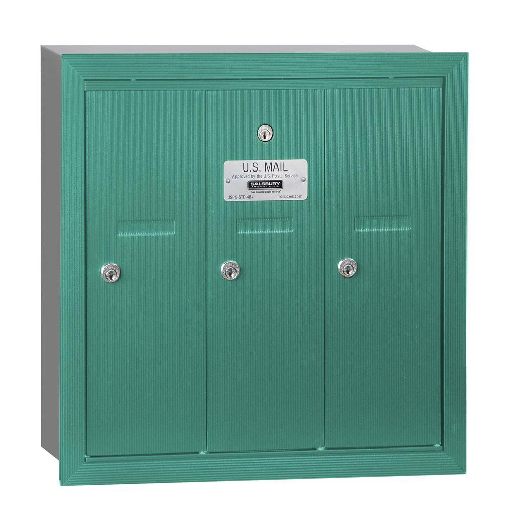 Salsbury Industries Green Recessed-Mounted USPS Access Vertical Mailbox with 3
