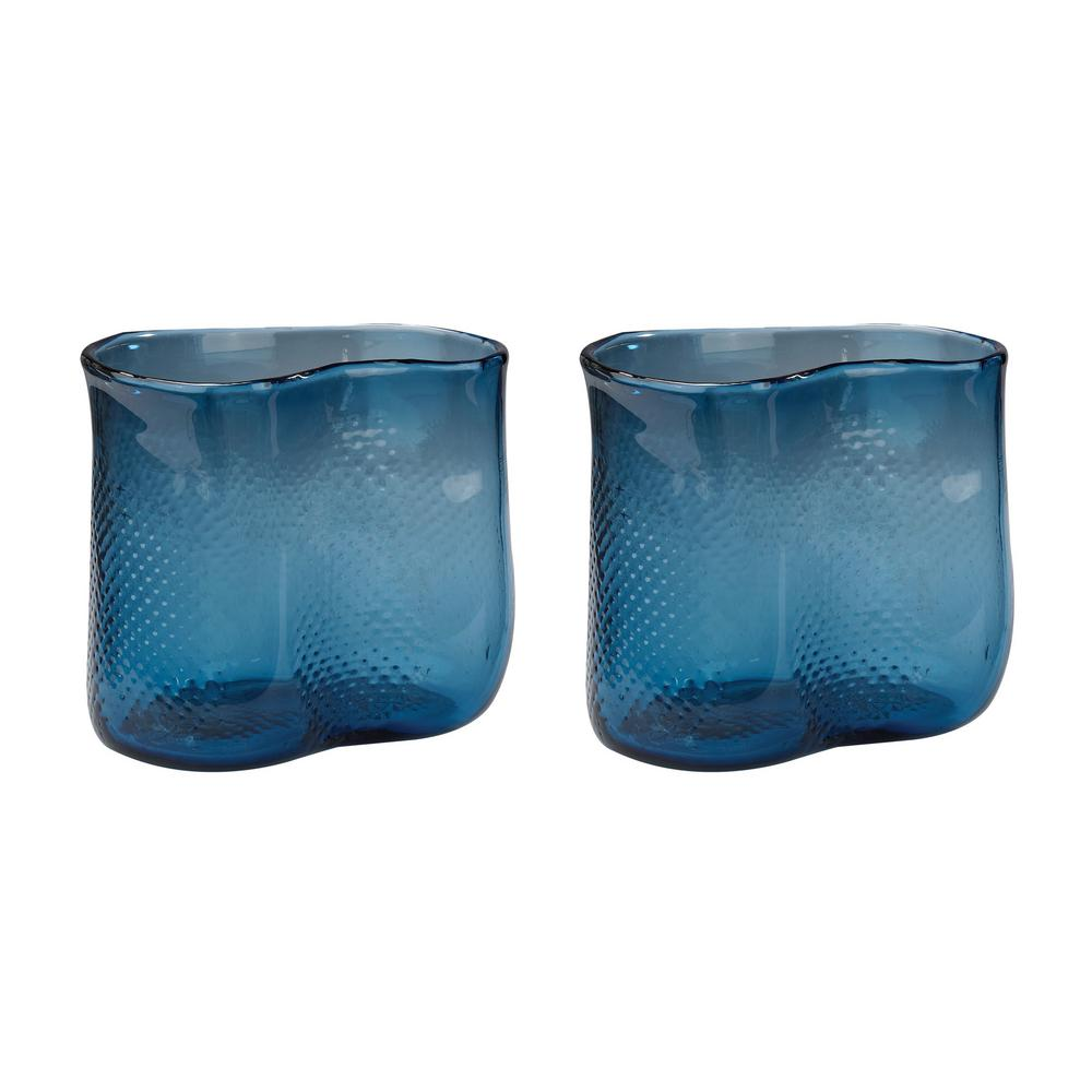Fish Net 8 in. Glass Decorative Vases in Navy Blue (Set