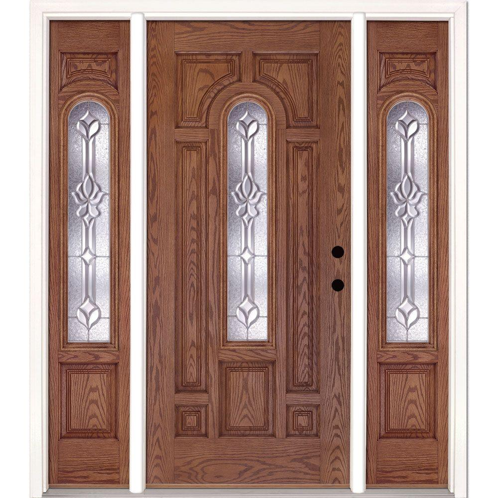 Feather River Doors 63 5 In Medina Zinc Center Arch Lite Stained Medium Oak Left