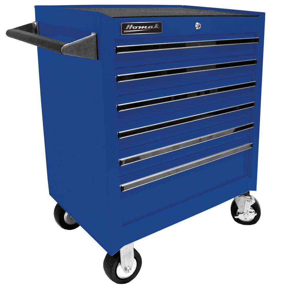 Homak Professional 27 in. 6-Drawer Rolling Cabinet, Blue-BL04062601 - The Home