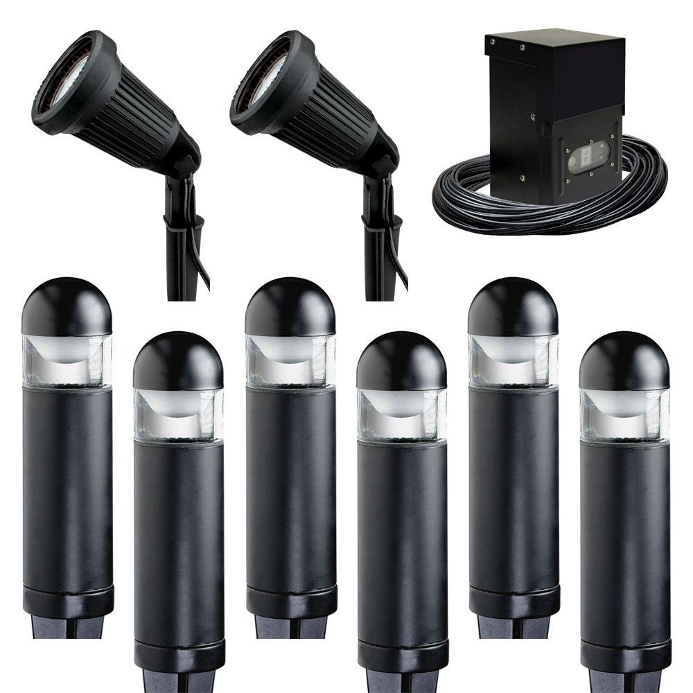 Malibu 8-Light Outdoor Black Bollard Light Kit-DISCONTINUED