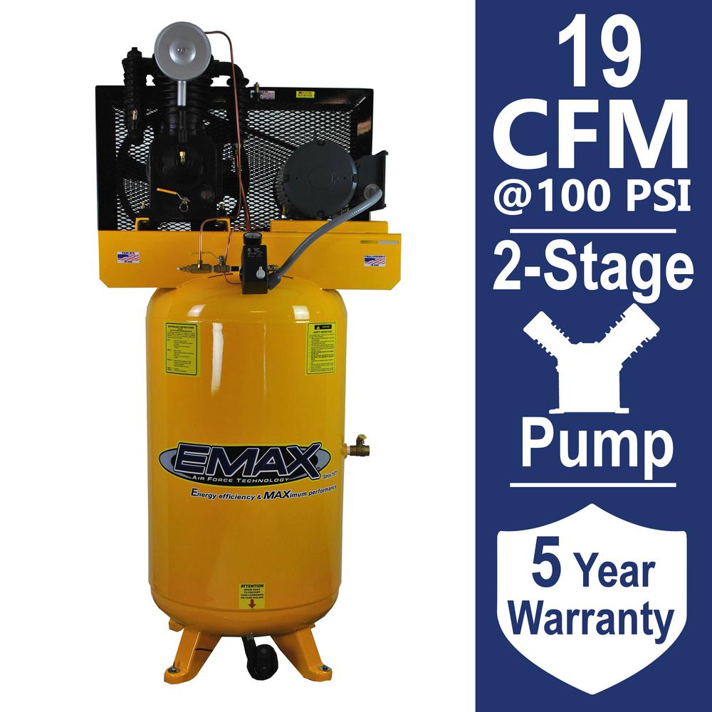 EMAX Industrial PLUS Series 80 Gal. 5 HP 2-Stage Vertical Stationary