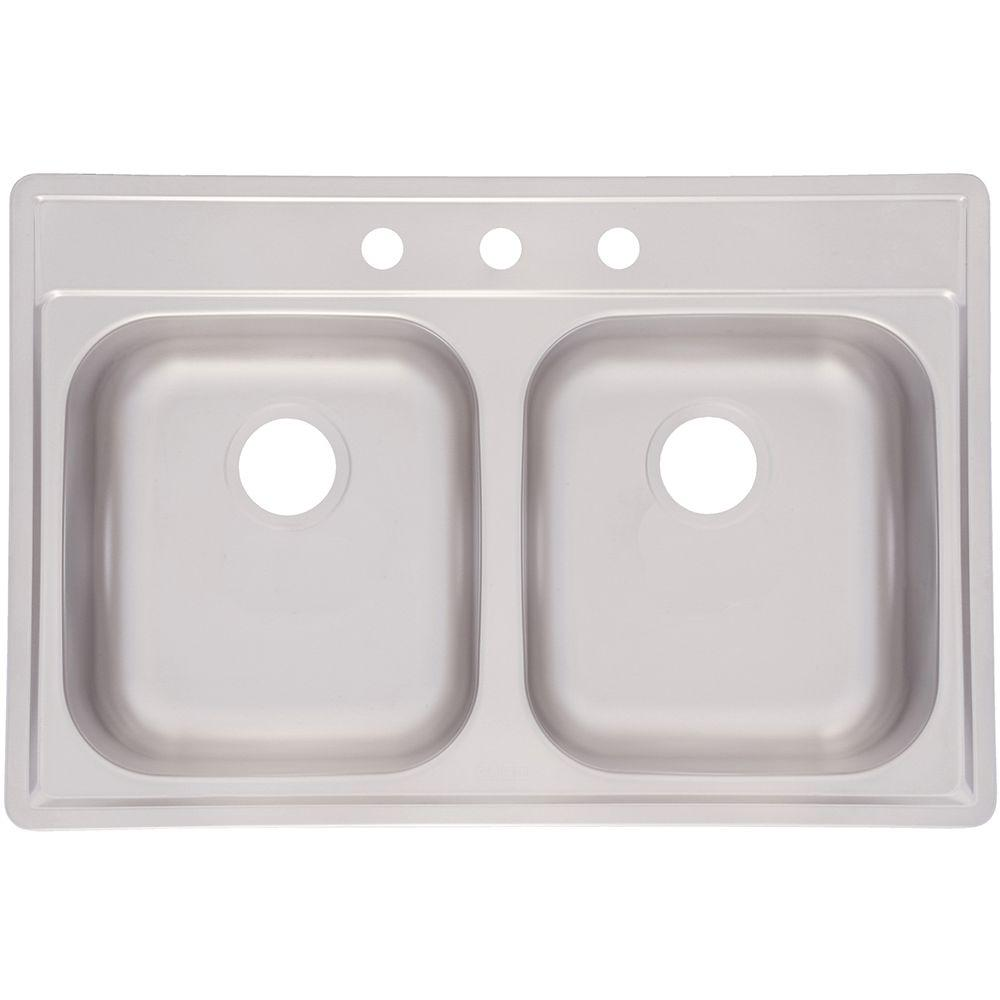 Top Mount Stainless Steel 33x22x8 3-Hole Double Bowl Kitchen Sink, Satin Deck And Bowl