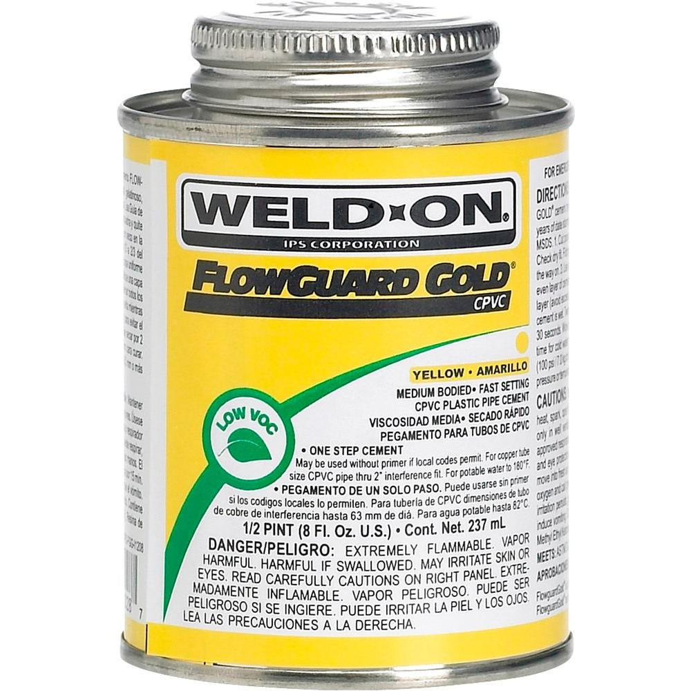 Weld-On FlowGuard Gold 8 oz. CPVC Low VOC Cement - Yellow-11028