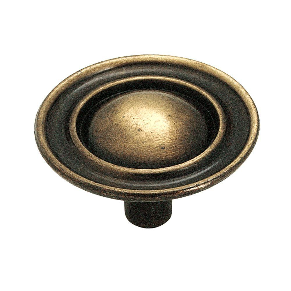 Amerock 1 1 2 in antique brass cabinet knob 159abs the home depot - Antique brass cabinet knobs ...