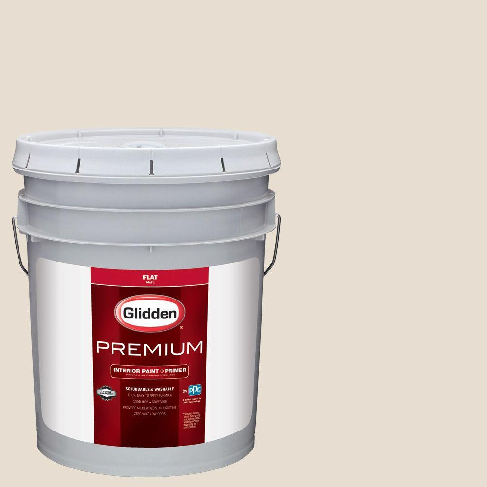 Glidden Premium 5 gal. #HDGWN29 Cappuccino White Flat Interior Paint with
