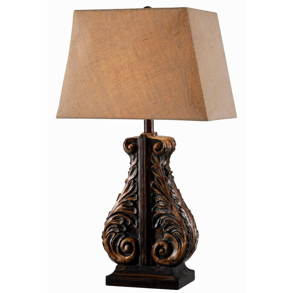 Corbel 29 in. H Aged Copper Bronze Table Lamp