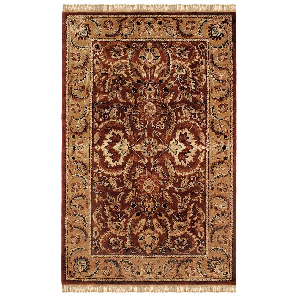 Linon Home Decor Rosedown Collection Burgundy and Gold 1 ft. 10 in. x 2 ft. 10 in. Indoor Area Rug