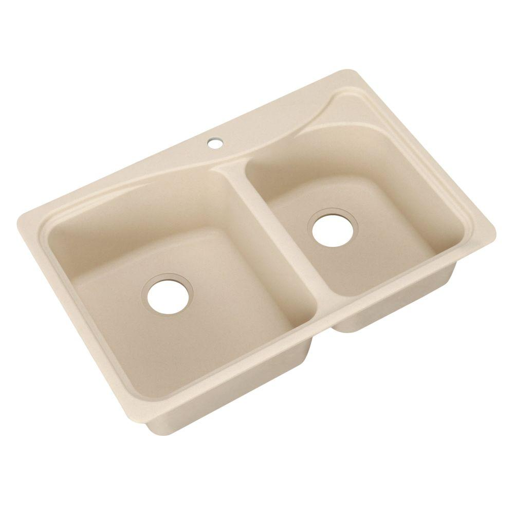 Pegasus Dual Mount Composite 33 in. 1-Hole Double Basin Kitchen Sink in Bisque