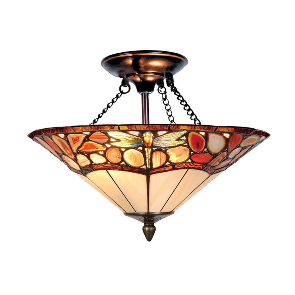 Dale Tiffany Dragonfly Agate 2-Light Antique Bronze Semi-Flush Mount with Art Glass Shade-DISCONTINUED