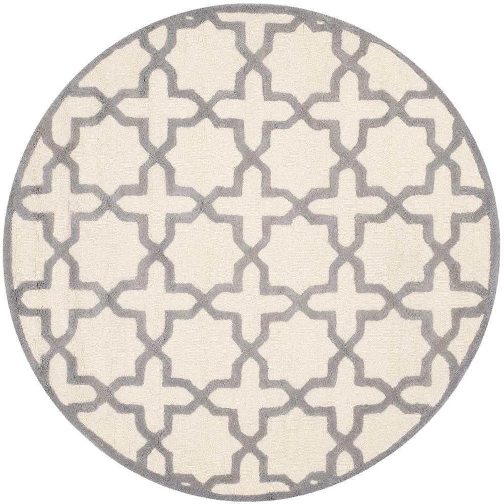 Cambridge Ivory/Silver 6 ft. x 6 ft. Round Area Rug