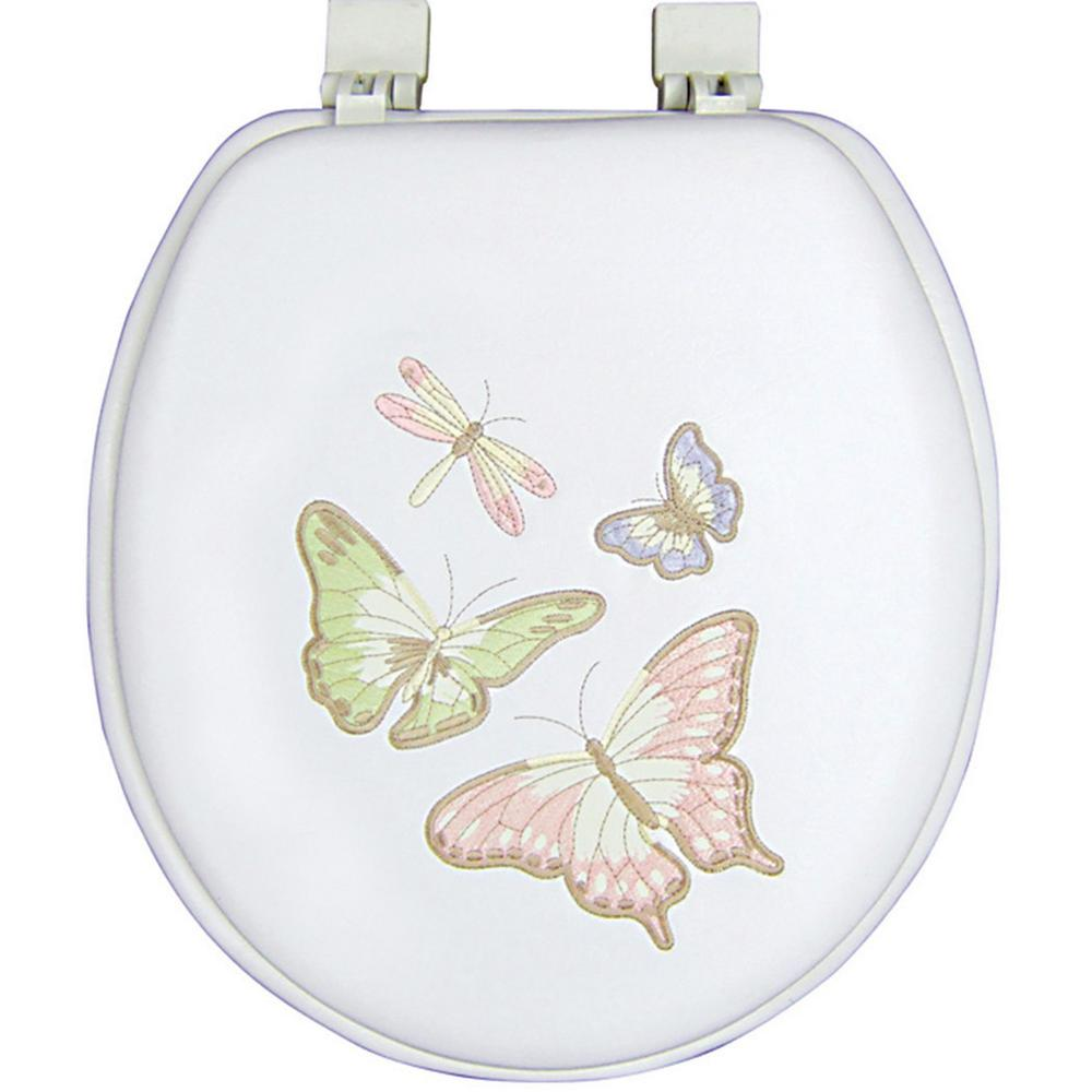 Classique ginsey round closed front embroidered soft toilet seat in shimmer butterfly 26466 - Commode classique ...