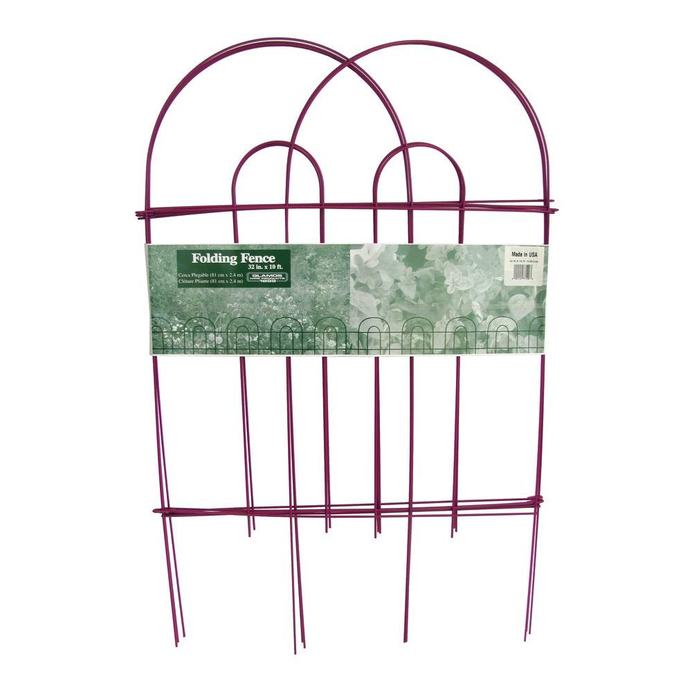 Glamos Wire Products 32 in. x 10 ft. Galvanized Steel Folding Garden Fence Fuchsia (10-Pack)
