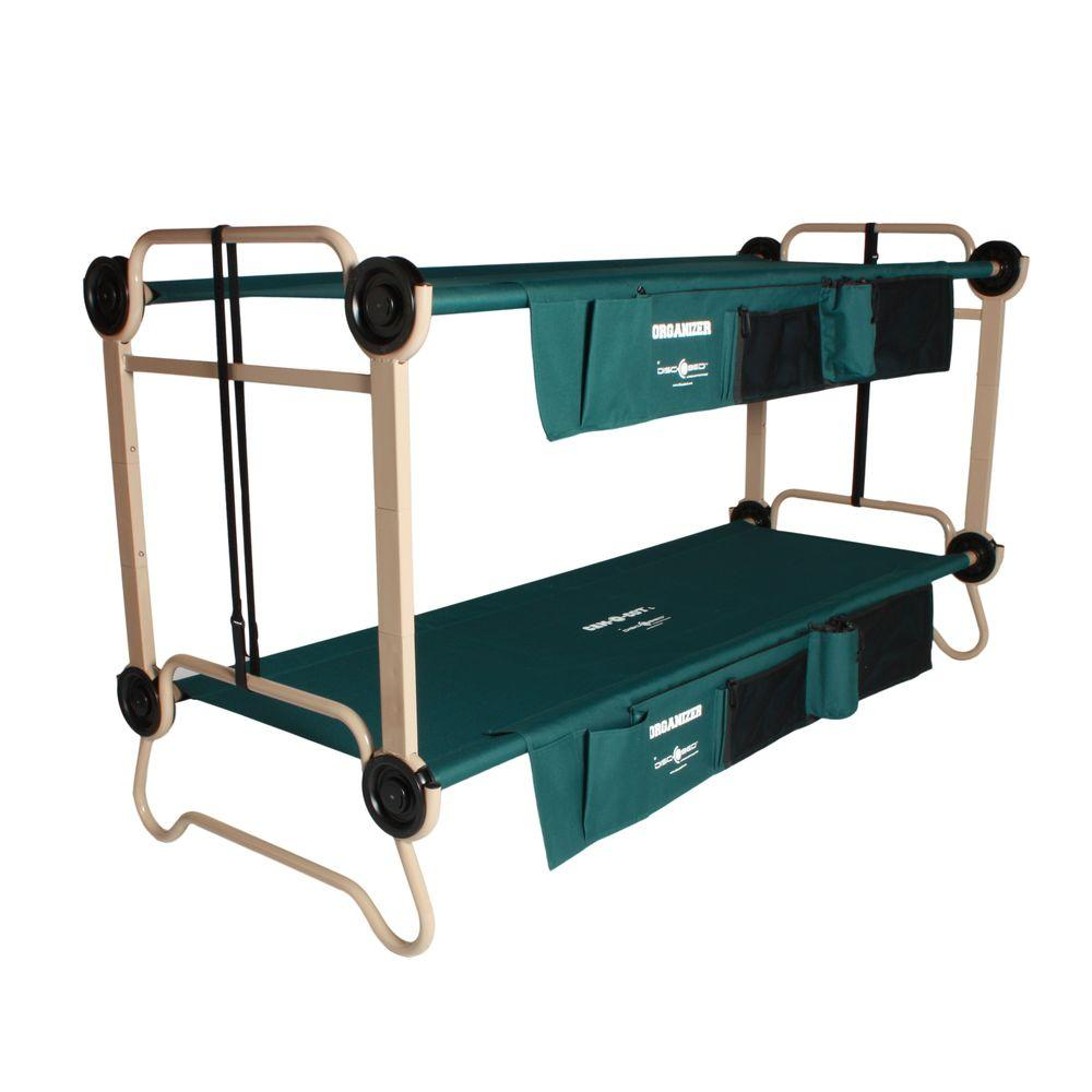 32 in. Green Bunkbable Beds with Leg Extensions and Bed Side