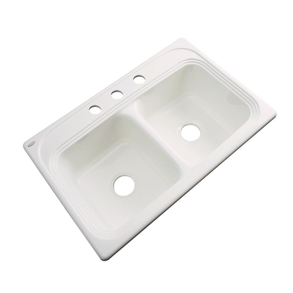 Chesapeake Drop-In Acrylic 33 in. 3-Hole Double Basin Kitchen Sink in
