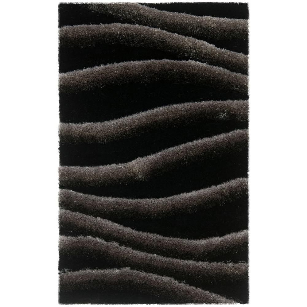 3D Shag Black/Gray 2 ft. 6 in. x 4 ft. Area