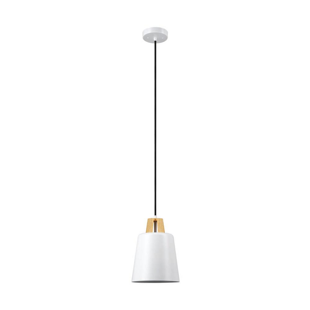Globe Electric 1-Light White Pendant with Wood Accent-65431 - The Home