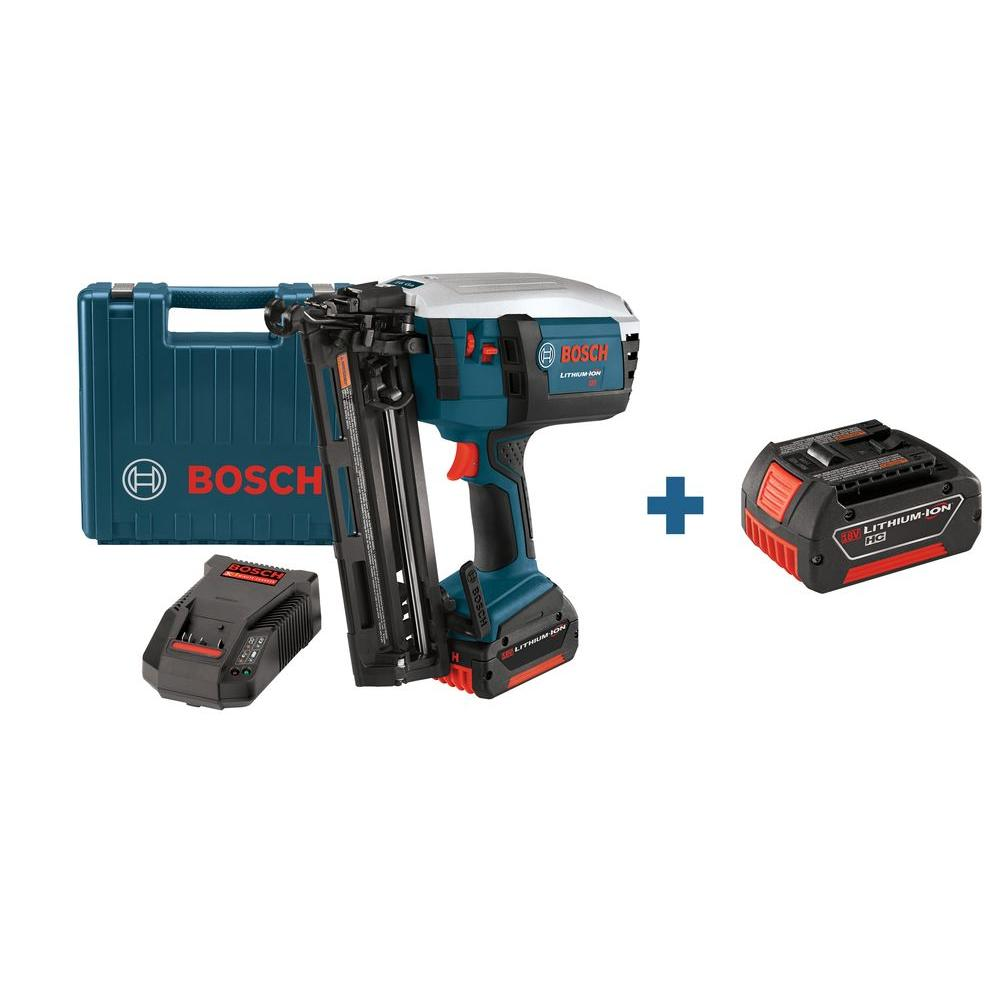Bosch 18 Volt 16-Gauge Lithium-Ion Finishing Nail Gun Kit with Free 18 Volt 3.0 Ah High-Capacity Lithium-Ion Battery