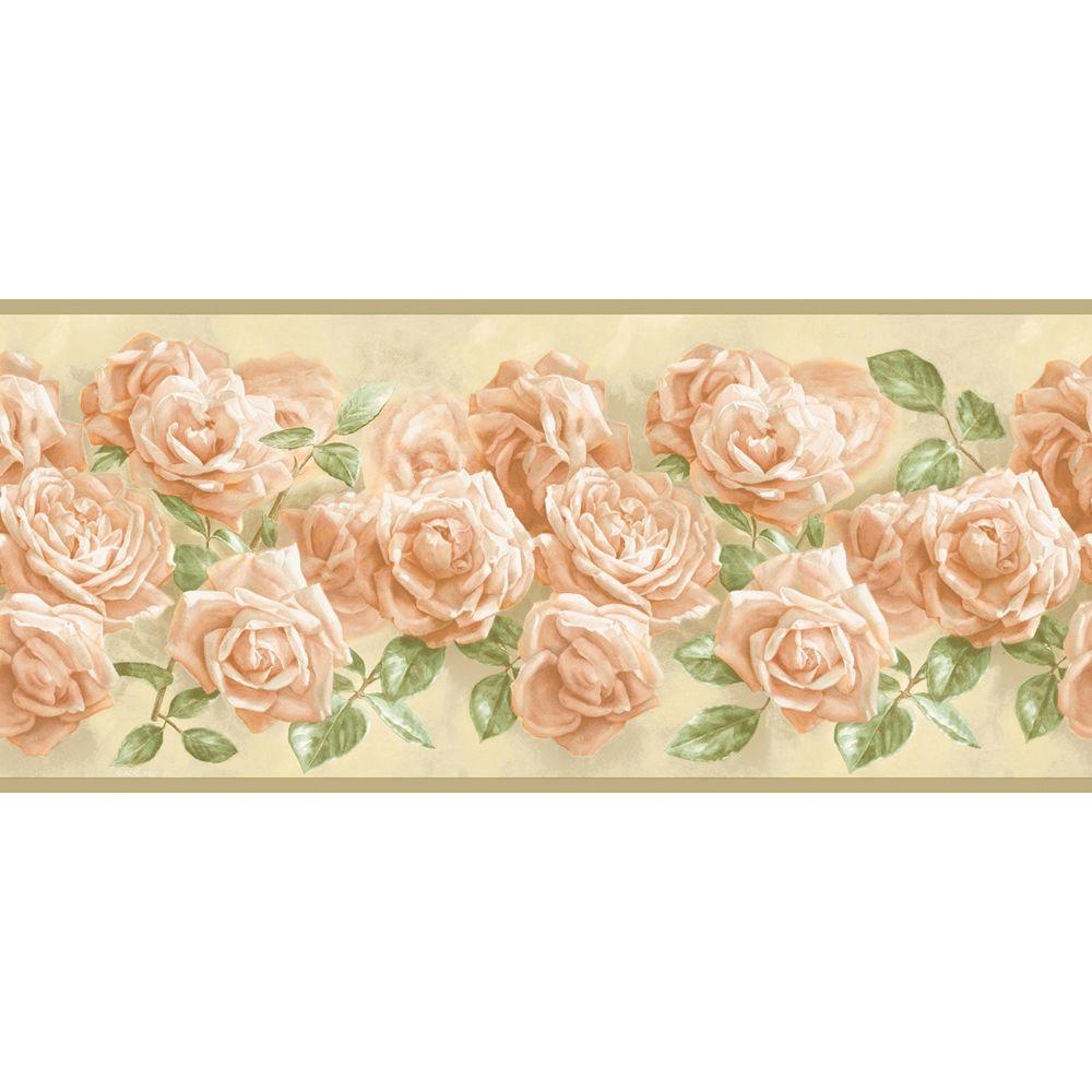 The Wallpaper Company 8 in. x 10 in. Peach Realistic Rose Border Sample-DISCONTINUED