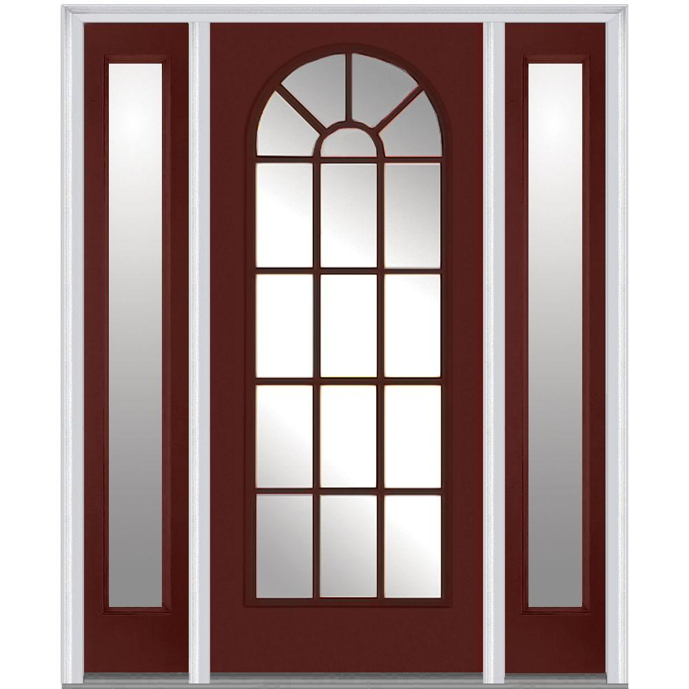 Milliken Millwork 68.5 in. x 81.75 in. Classic Clear Glass Round Top Full Lite Painted Fiberglass Smooth Exterior Door with Sidelites, Red