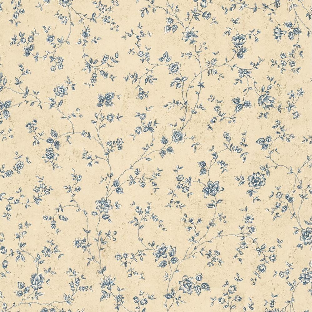 The Wallpaper Company 56 sq. ft. Blue Floral Trail Wallpaper-DISCONTINUED
