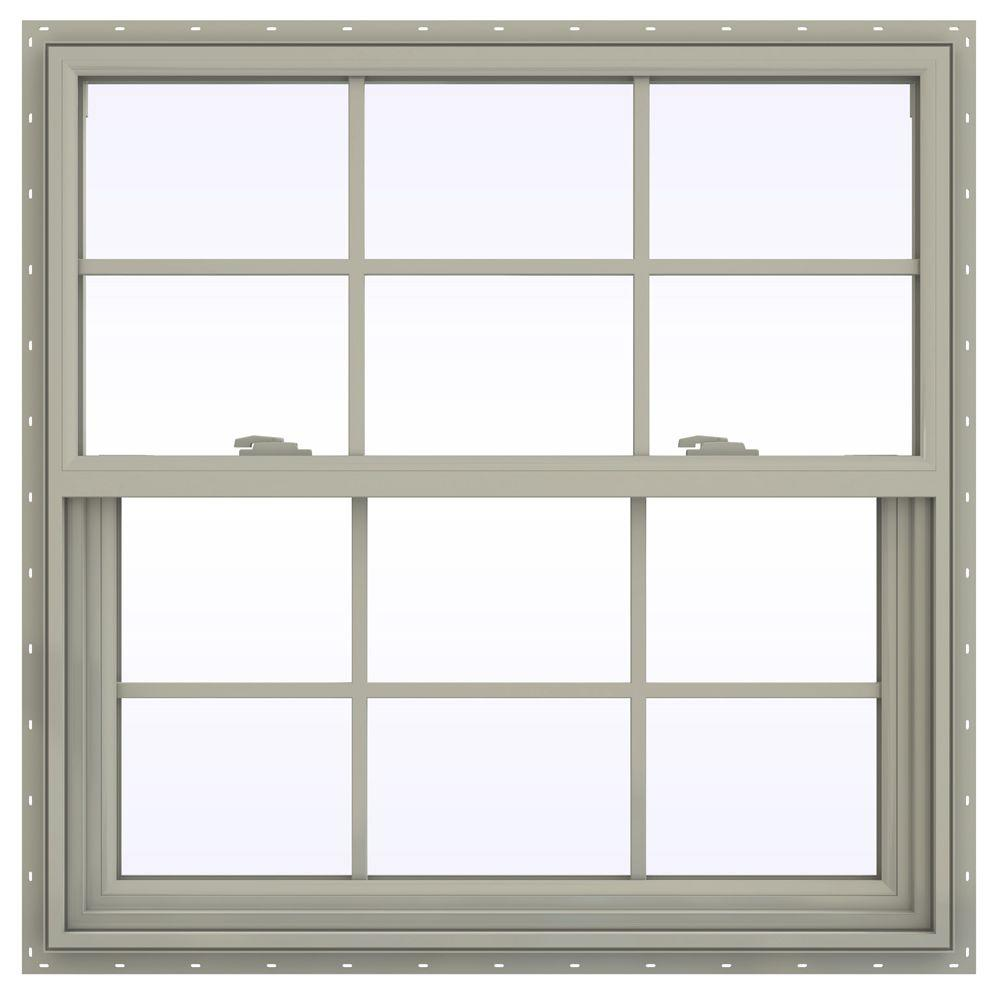 JELD-WEN 35.5 in. x 35.5 in. V-2500 Series Single Hung Vinyl Window with Grids - Tan