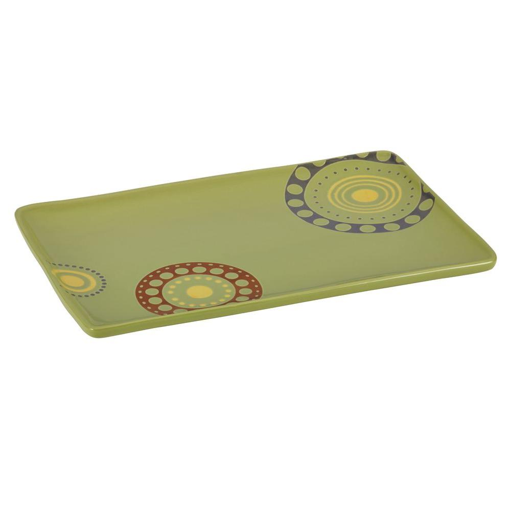 Rachael Ray Stoneware 12.75 in. x 8.25 in. Circles and Dots Rectangular Serving Platter in Green