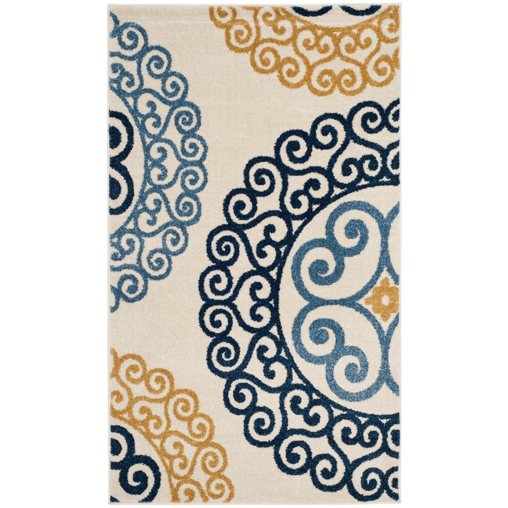 Amherst Ivory/Gold 3 ft. x 5 ft. Indoor/Outdoor Area Rug