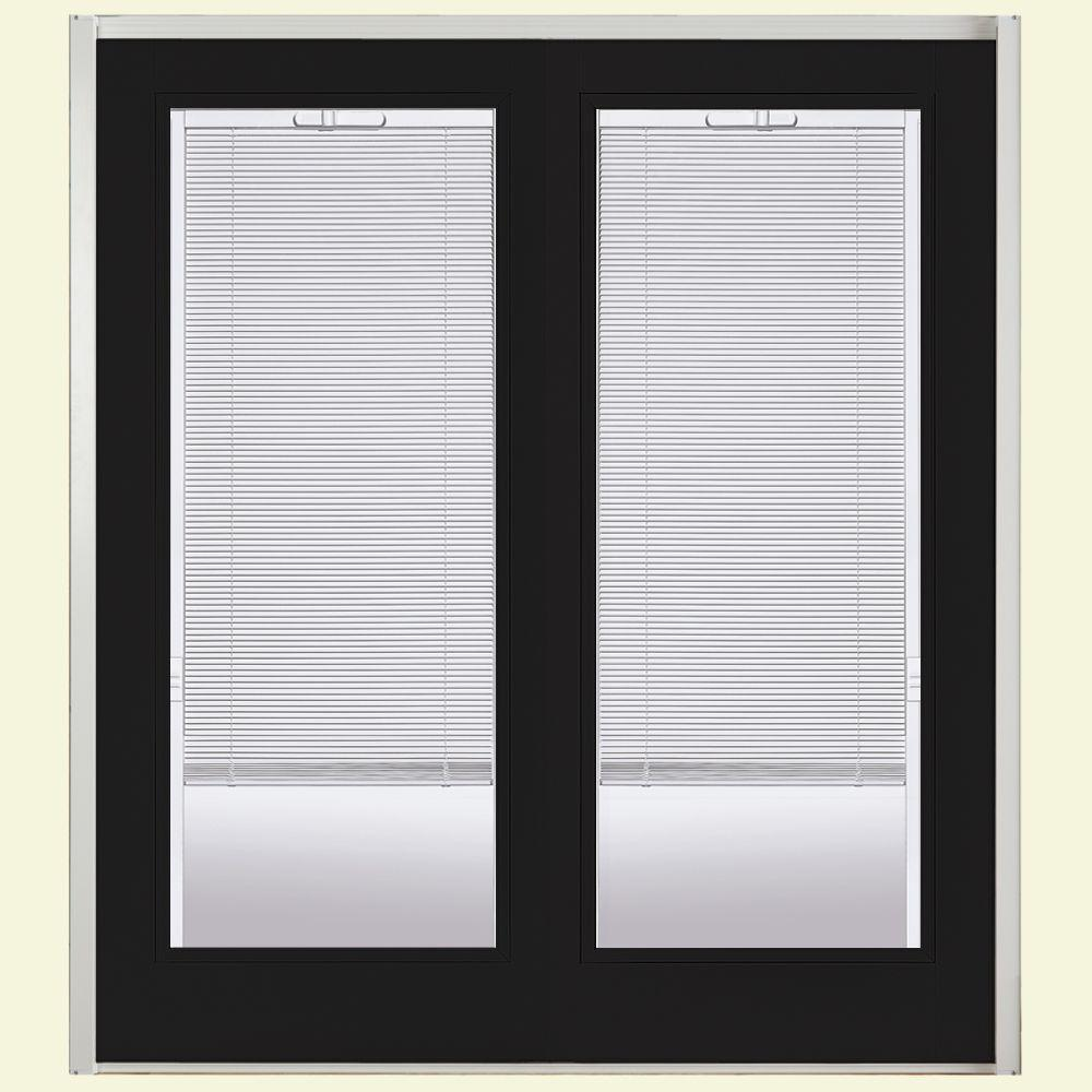 72 in. x 80 in. Jet Black Prehung Left-Hand Inswing Minibllind Steel Patio Door with No Brickmold