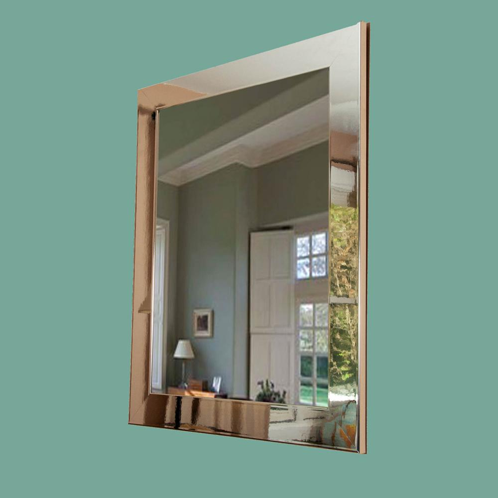 ultra modern chrome framed mirror