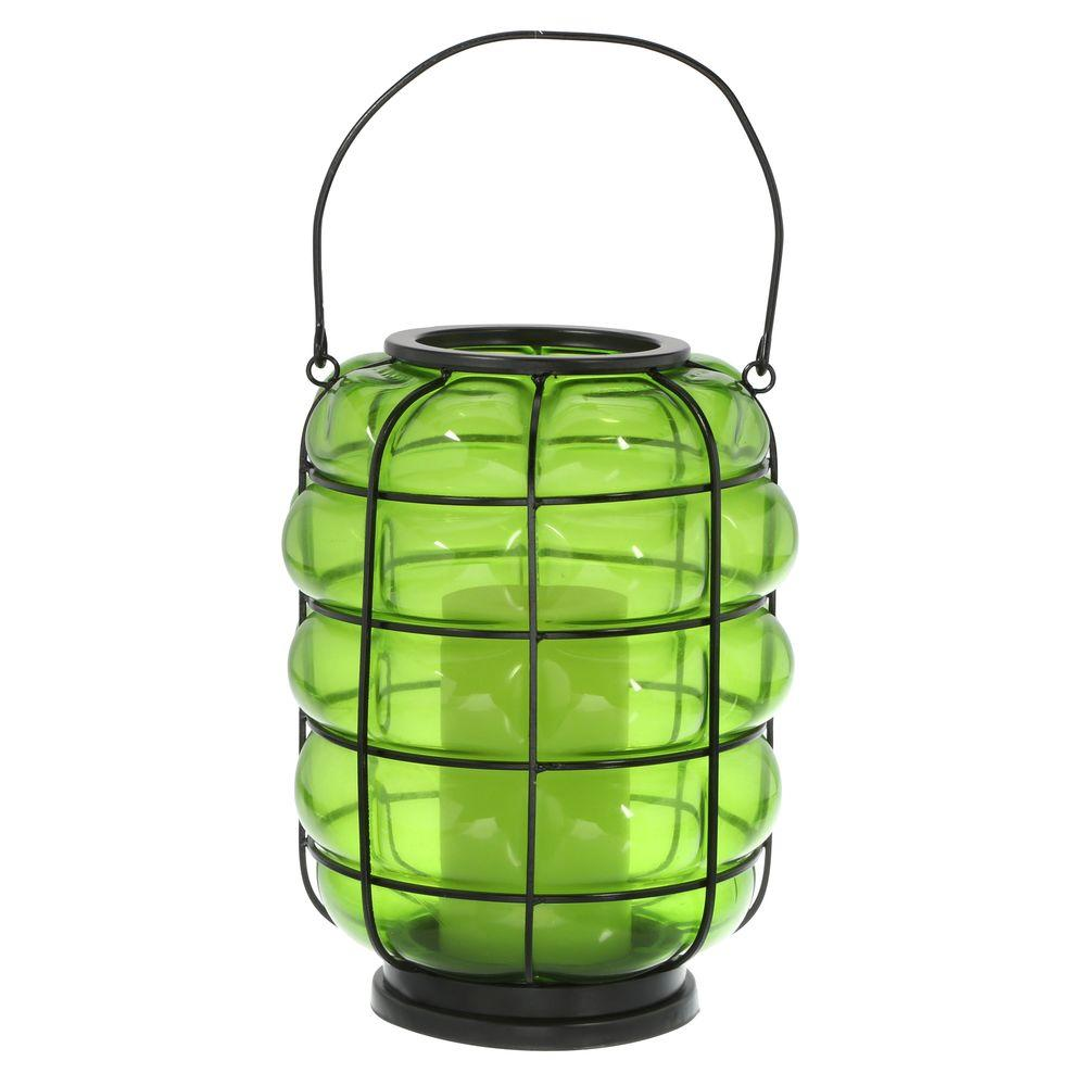 null Blown Glass Green Lantern with Battery-Operated Candle