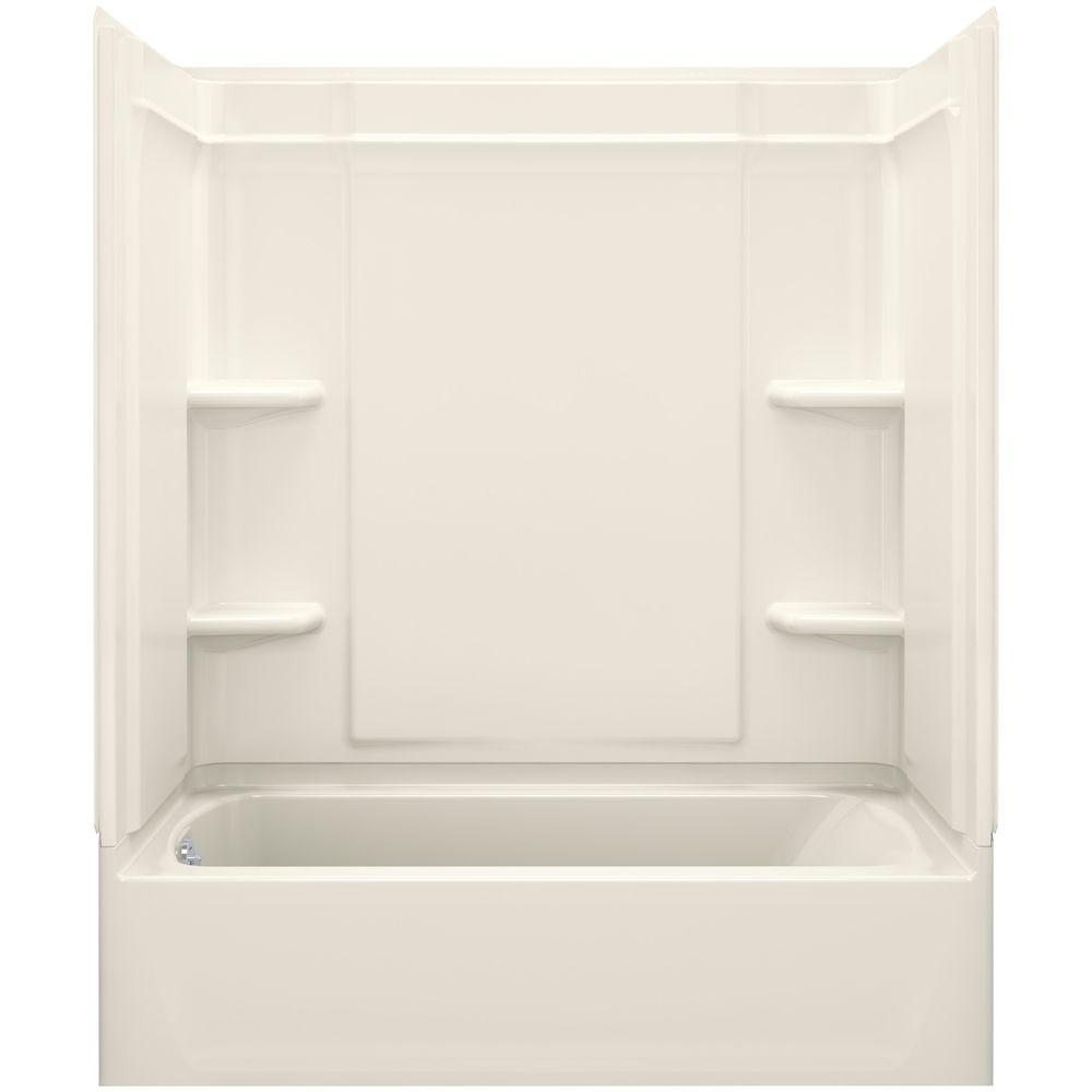 STERLING Ensemble Medley 60 in. x 30 in. x 77 in. 4-piece Tongue and Groove Tub Wall in Biscuit