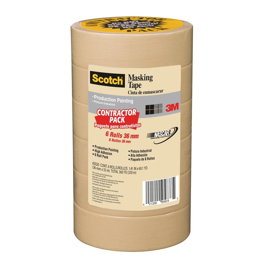 3m scotch in x 60 1 yds painting production masking tape 6 pack case of 4 2020 36a cp. Black Bedroom Furniture Sets. Home Design Ideas
