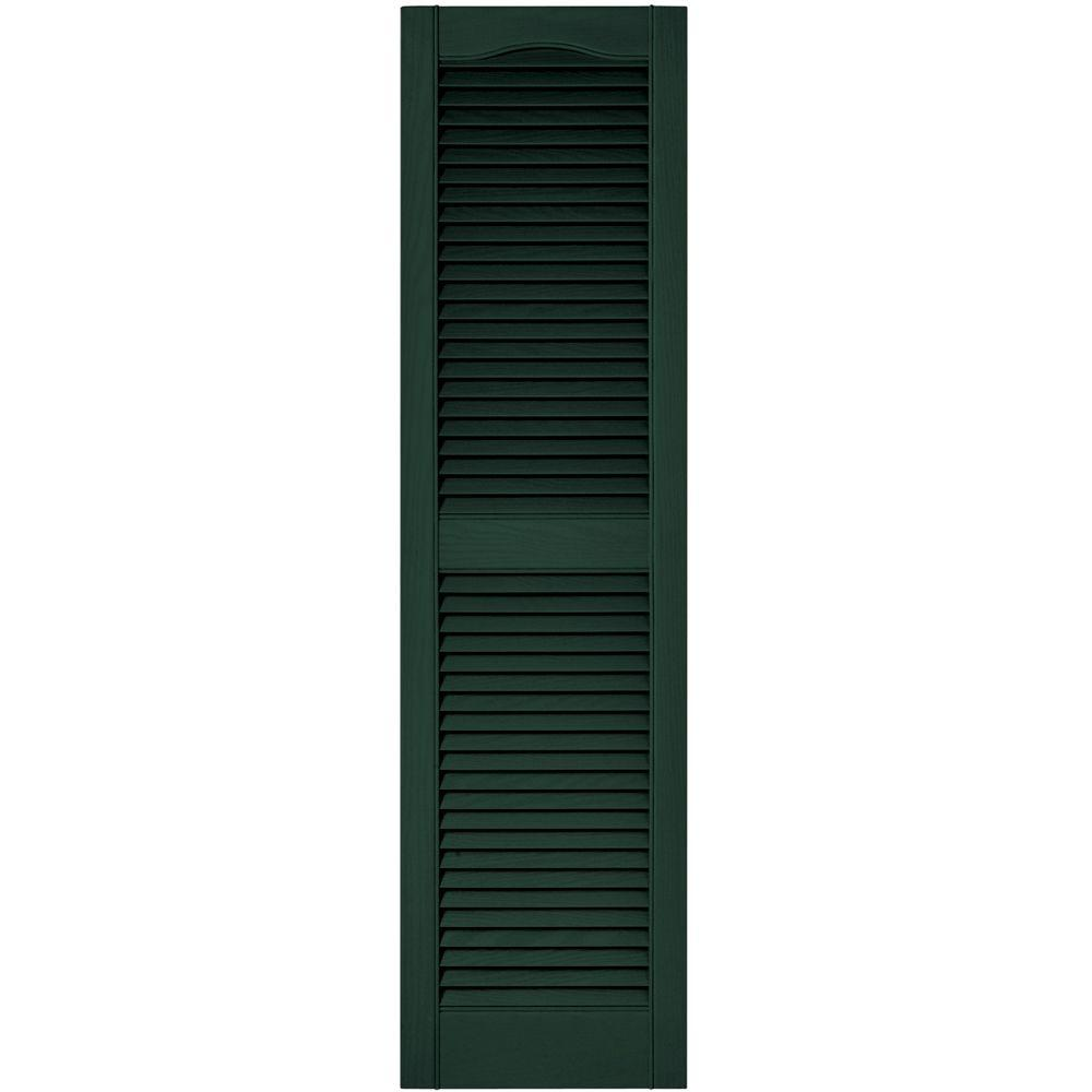 Builders Edge 15 in. x 55 in. Louvered Vinyl Exterior Shutters Pair in #122 Midnight Green