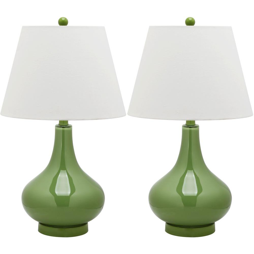 Amy 24 in. Fern Green Gourd Glass Lamp (Set of 2)