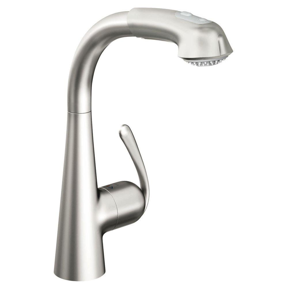 LadyLux Cafe Plus Single-Handle Pull-Out Sprayer Kitchen Faucet in Stainless