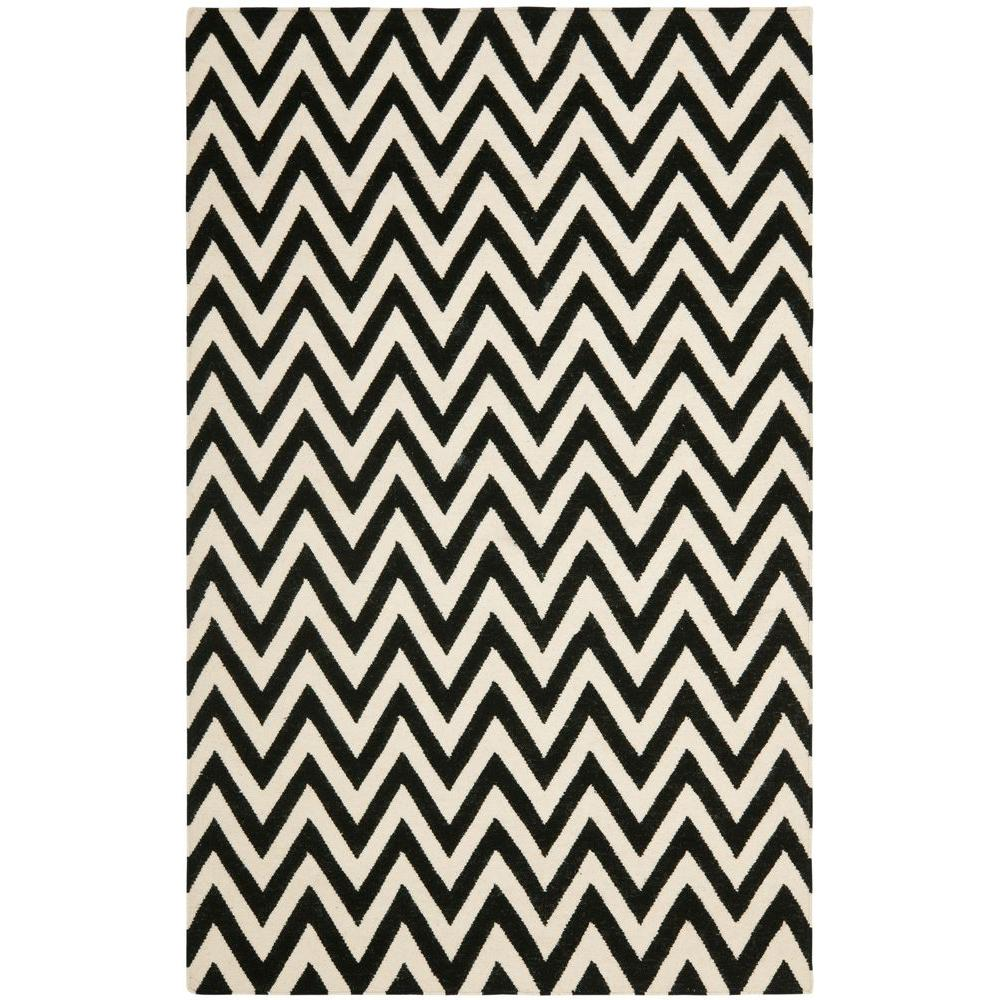 Dhurries Black/Ivory 9 ft. x 12 ft. Area Rug