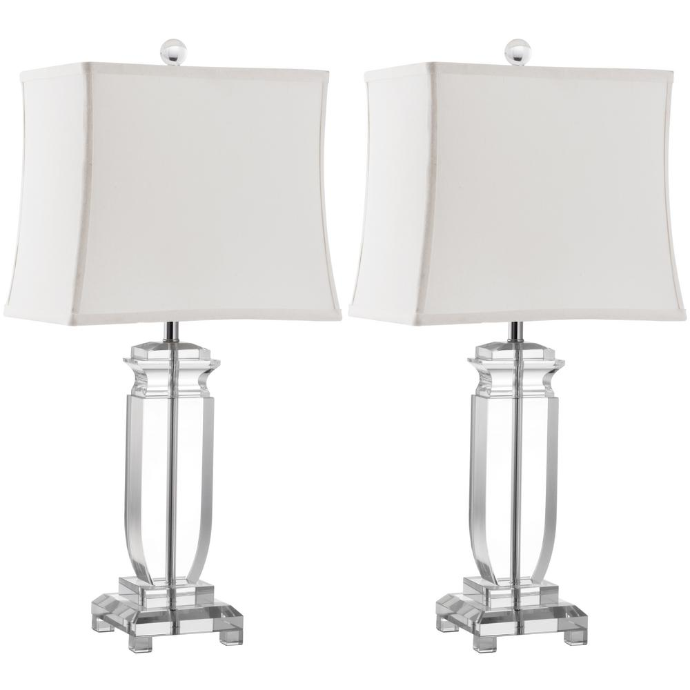 Romantic The Harp Shaped Crystal Base Of The Olympia: Safavieh Olympia 24 In. Clear Crystal Table Lamp (Set Of 2