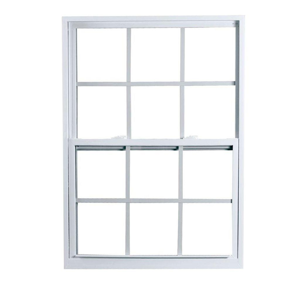 American Craftsman 32 in. x 36 in. 2300 Series Single Hung Fin Vinyl Window with Grilles - White