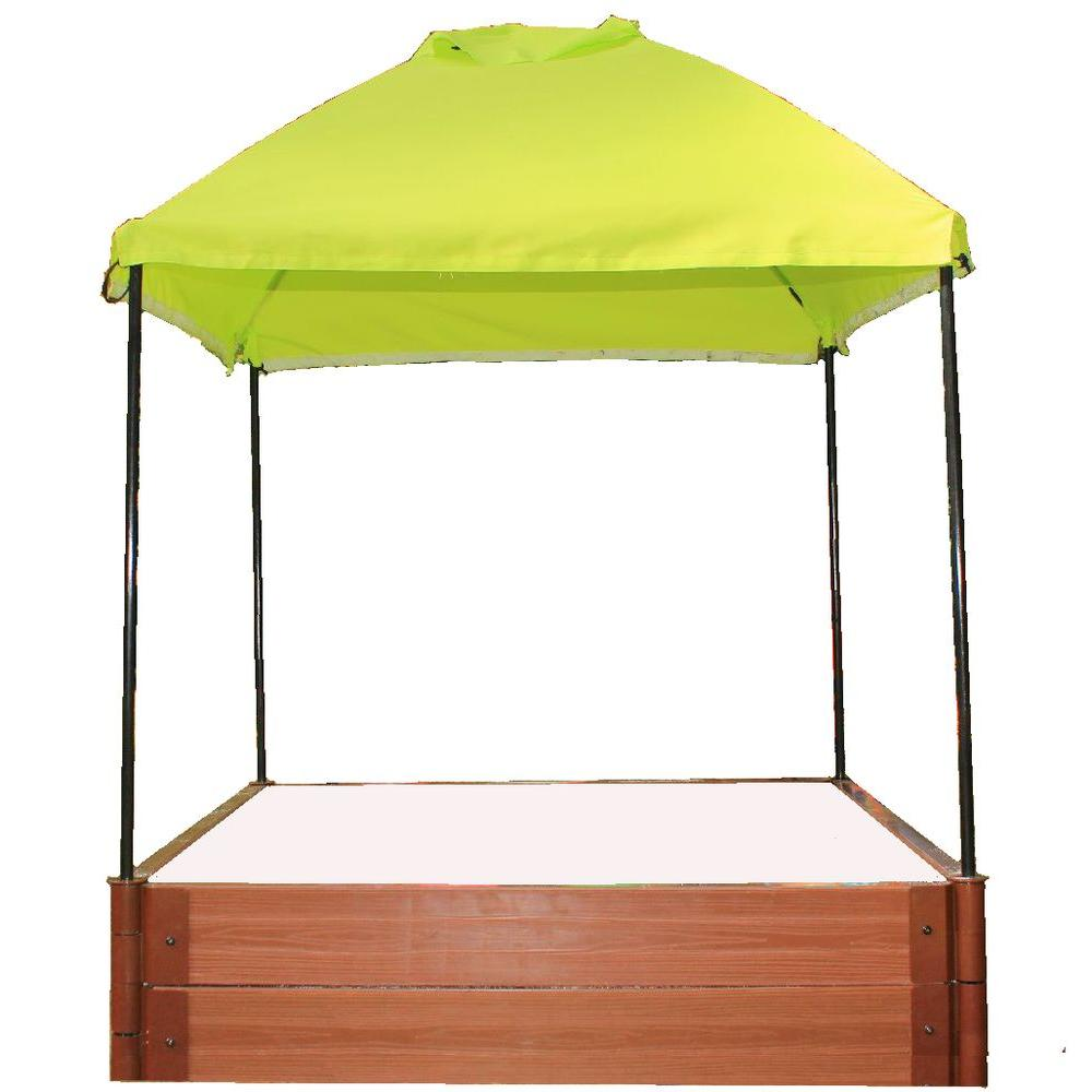 Frame It All Two Inch Series 4 ft. x 4 ft. x 11 in. Composite Square Sandbox Kit with Canopy and Cover
