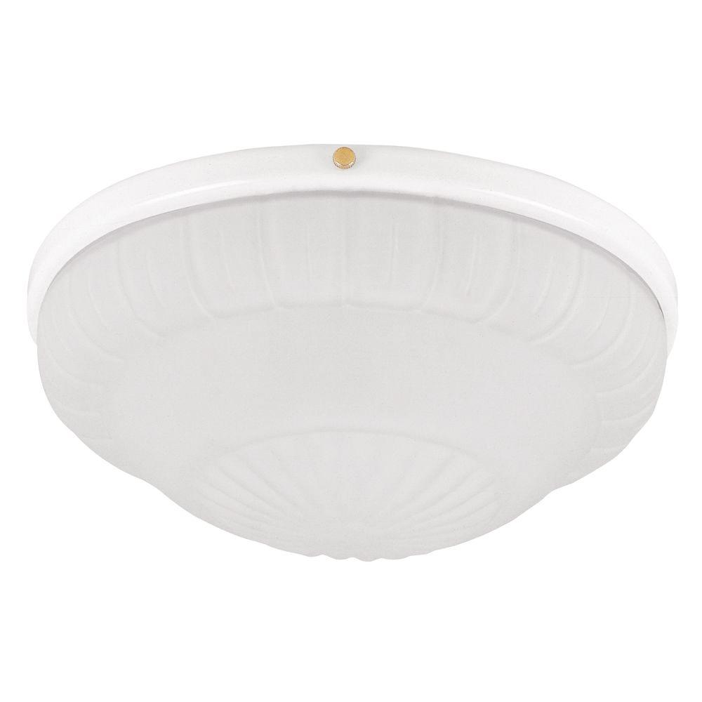 Hunter 10 in. Low Profile White Ceiling Fan Light Kit with Rosette Glass Shade-DISCONTINUED