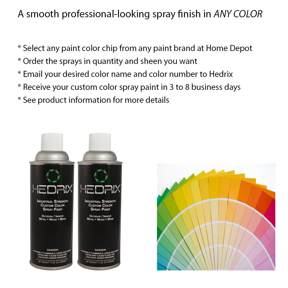 Hedrix 11 oz. Match of Any Paint Color - Semi Gloss Custom Color Spray Paint (2-Pack), Match Any Paint Color. Available In Multiple Sheens.