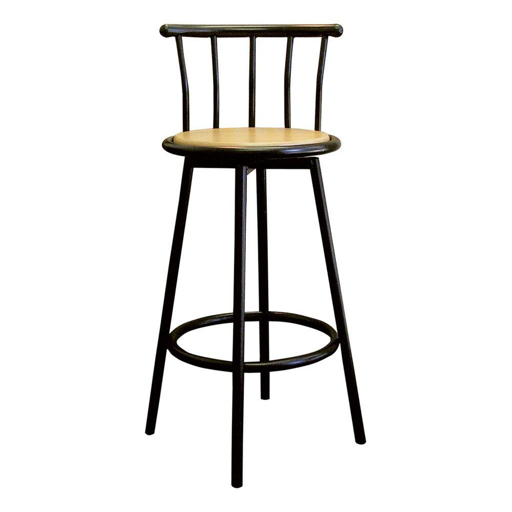 Home decorators collection padded high back bar stool in black cnf1224 the home depot Home depot wood bar stools