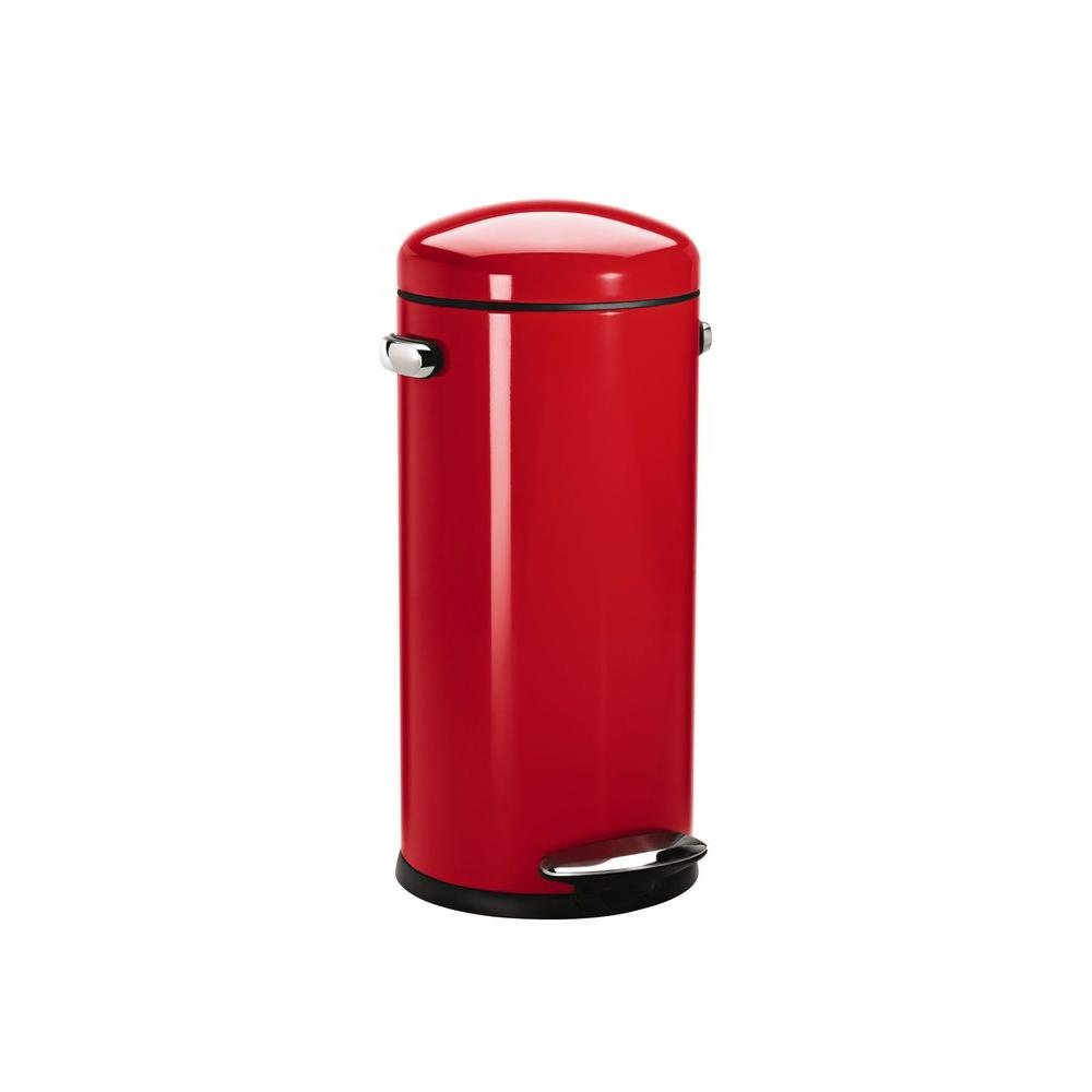 Simplehuman 30 L Red Round Retro Step On Trash Can CW1262