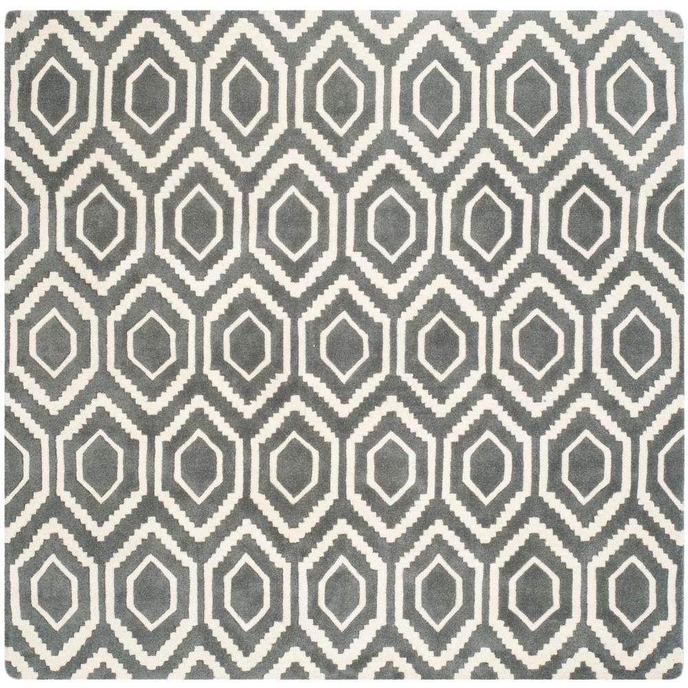 Chatham Dark Grey/Ivory 9 ft. x 9 ft. Square Area Rug