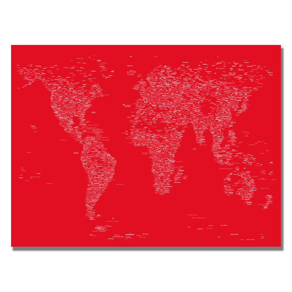 30 in. x 47 in. Font World Map II Canvas Art