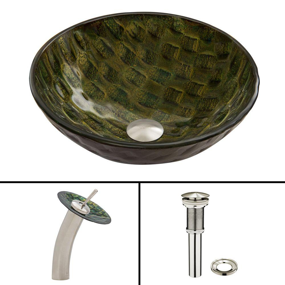 Glass Vessel Sink in Amazonia with Waterfall Faucet Set in Brushed
