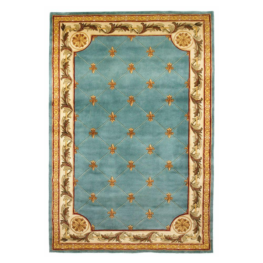 Kas Rugs Antique Fleur-De-Lis Wedgewood Blue 8 ft. 6 in. x 11 ft. 6 in. Area Rug