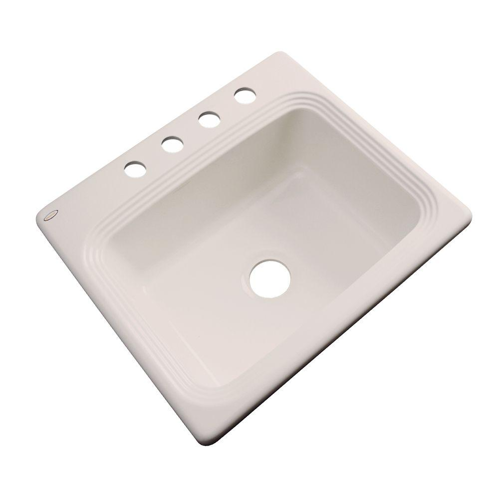 Thermocast Rochester Drop-In Acrylic 25 in. 4-Hole Single Bowl Kitchen Sink