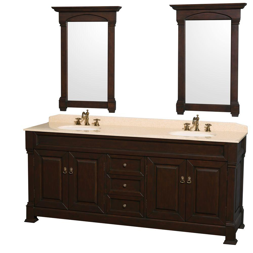 Wyndham Collection Andover 80 in. Vanity in Dark Cherry with Marble Vanity Top in Ivory with Sink and Mirrors